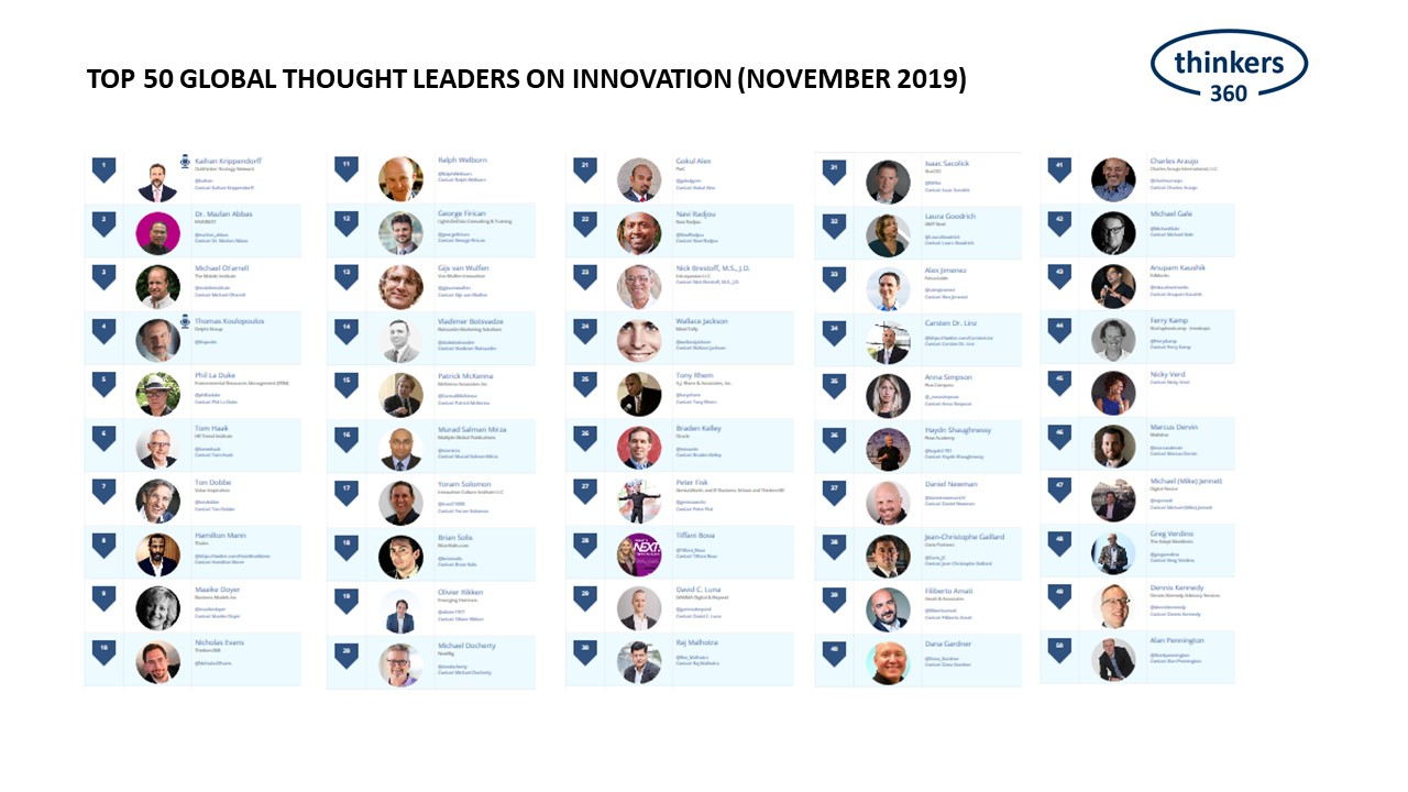 Top 50 Global Thought Leaders and Influencers on Innovation (November 2019)