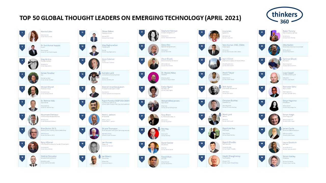 Top 50 Global Thought Leaders and Influencers on Emerging Technology (April 2021)